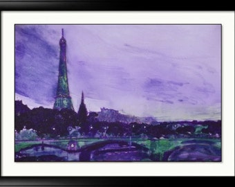 Paris Art Print impressionist style french chic Eiffel Tower Colorful vintage painting print Paris France art