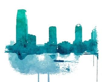 New York art poster print NYC Aquamarine blue Art Print Signed NYC gift idea New York skyline  Art Cityscape turquoise modern print