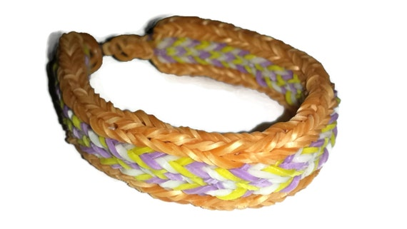 Rainbow Loom Gold White Purple and Yellow 5V/ Flat Fishtail