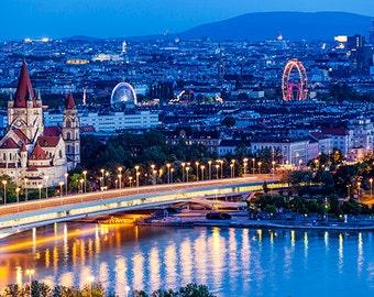 Austria - Vienna - Aerial view at night - SKU 0131