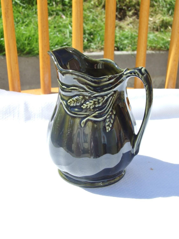 Arthur Wood Vintage Creamer Dark Olive Green Color