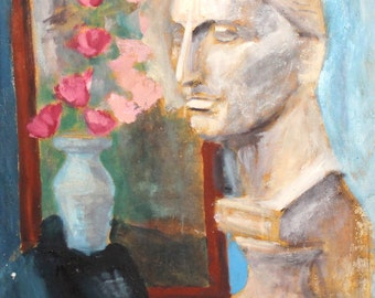 European antique oil painting still lifewith sculpture and flowers