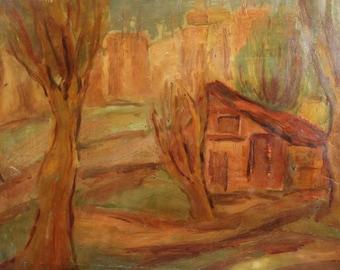 Antique oil painting expressionist landscape