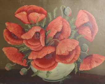 Antique oil painting  poppy flowers still life