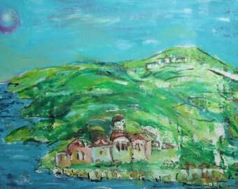 Vintage landscape oil painting river village mountain