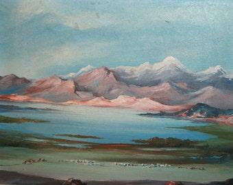 Vintage European impressionism painting landscape sign