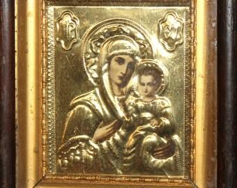 Vintage tin oklad icon print Virgin Mary