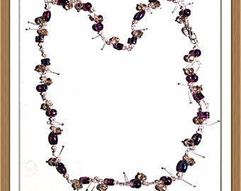 Handmade MWL purple and champaign beaded nevklace with silver twigs. 0122