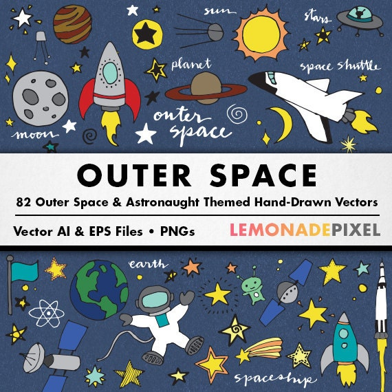 Outer Space Clip Art Hand Drawn clipart Stars digital
