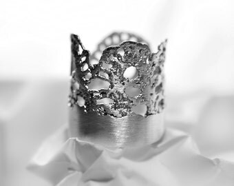 Silver Ring with Lace pattern - Mokosh Jewellery