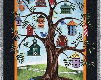 Family Tree Quilt - Birdhouse Family Tree Throw Blanket Personalized
