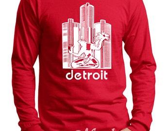 Detroit Red Wings Spirit of Detroit Screen Print Long Sleeve Shirt Red Shirt, Sizes S-5XL