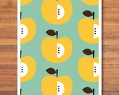 "yellow apple pattern kitchen printable poster , 8""X10"" instant download apple poster,yellow pear pattern on turquoise background, pear print"