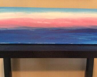 Ocean Sunrise acrylic painting 12x36 canvas
