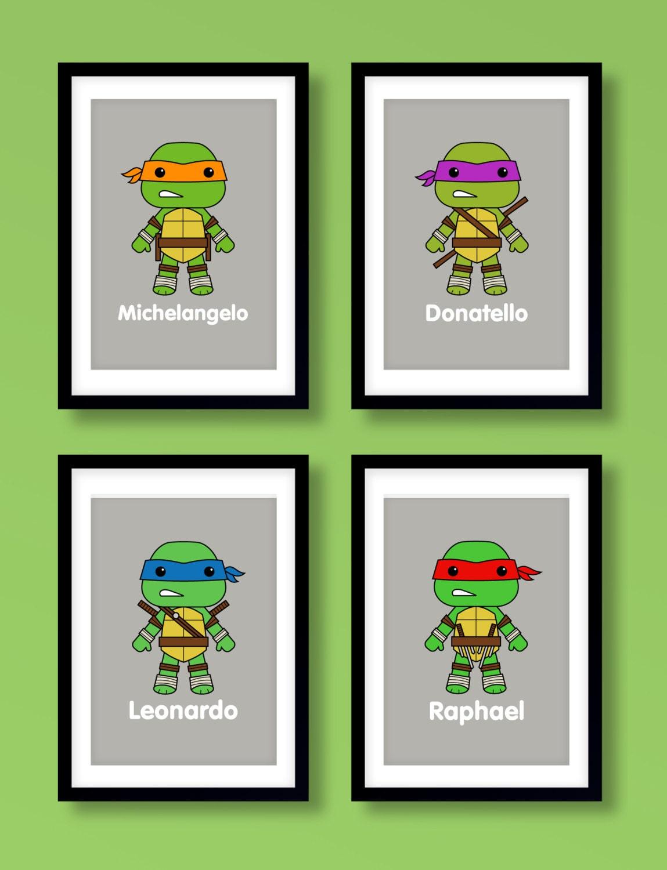 Ninja Turtles Inspired Wall Art Boys Wall Art By Miniheroes