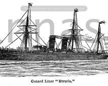 Instant download Victorian illustration Transatlantic liners; Cunard liner Etruria.