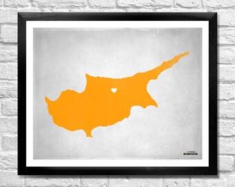 Cyprus Map Personalized Art Print