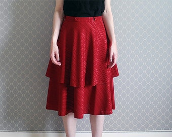 Red flowy shiny skirt double layers