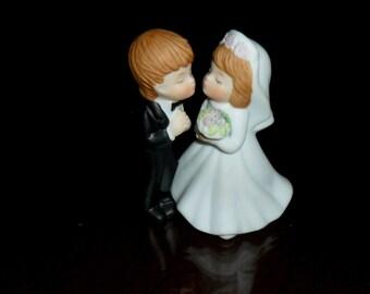Vintage 1983 Lefton Kissing Bride Groom Wedding Figurine Cake Topper 404