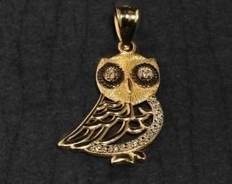 Gold Owl Pendant with Diamonds . Owl Pendant . Diamond Owl pendant . Handcrafted owl pendant. Handmade diamond owl pendant.