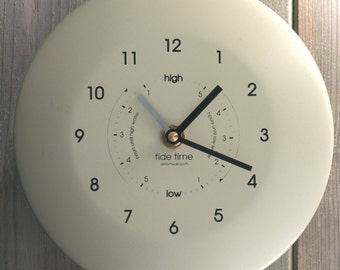 Powder Coated Stainless Steel Time & Tide Clock - Classic Cream