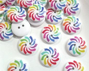 10 Rainbow Swirl Button Cabochons, #312