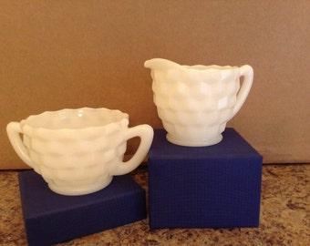On Sale **Hazel Atlas** Milk Glass Sugar Bowl and Creamer Set Cubist Design**Virginia Vintage**1950's