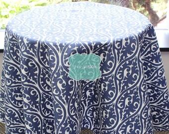 Tablecloth - Premier Prints - KIMONO Damask - Snorkel Blue White - Choose Your Size - Table Linen Wedding Home Decor Dining Kitchen