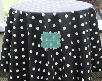 Tablecloth - Premier Prints - POLKA DOTS - Black White - Choose Your Size - Table Linen Wedding Home Decor Dining Kitchen