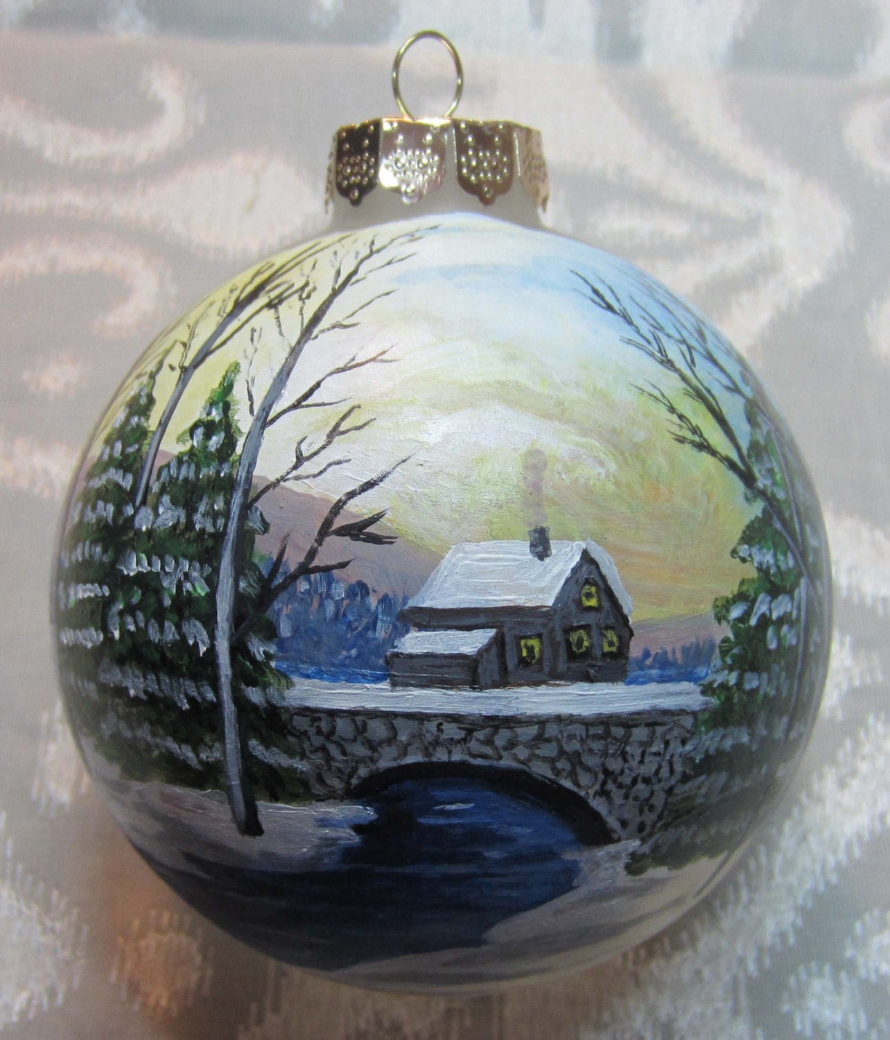 Hand painted glass ornament winter scene for Christmas glass painting