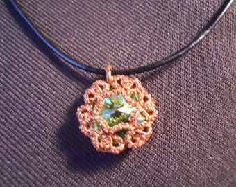 Peridot Swarovski Crystal Pendant with leather and sterling silver chain.