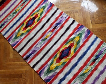 Handwoven wool rug - made to order - red and white and plenty of colors