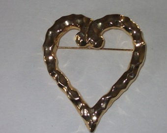Heart Gold-tone Brooch
