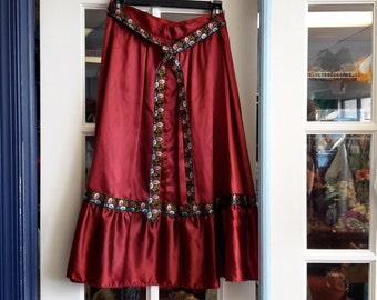 Satin gypsy peasant skirt 1970  vintage boho hippie style