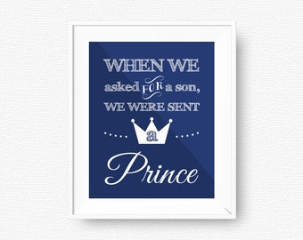 We were sent a prince, navy blue nursery printable, navy blue printable, digital file, navy blue nursery, printable wall art, kids wall art