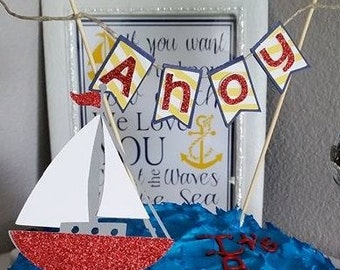 """Nautical Baby Shower Cake Banner and Sailboat topper (this price includes the """"Ahoy"""" banner and sailboat topper)"""