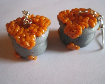 Silver and Orange Witch's Cauldron earrings