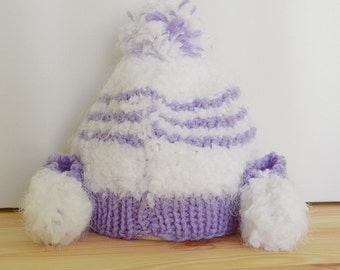 Hand Knitted Baby Beanie and Booties set, 0-3 months. Purple/White