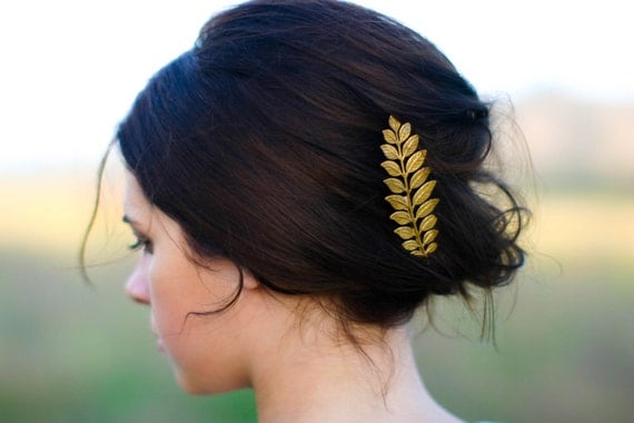 Luxe Long Gold Laurel Leaf Hair Pin Bobby Pin Hair por luxebuffalo