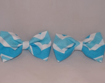 Set of piggy tail clips, fabric bow pig tails, Chevron pigtail bows