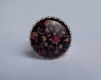 Adjustable ring cabochon 25mm kawaii roses