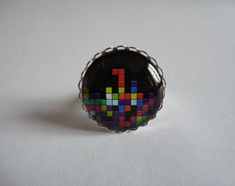 Adjustable ring cabochon 25mm tetris