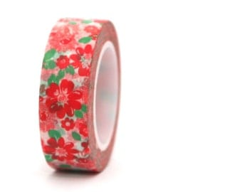 Washi Tape Red Floral Flowers