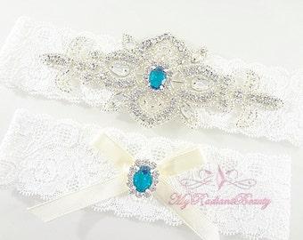 Wedding Garter, Rhinestone Garter, Crystal Applique Garter, Turquoise Blue Rhinestone Garter, Handmade Custom Garter, Beaded Garter GTA0032T