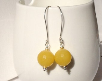 Long Yellow Jade Earrings, Sterling silver Earwires