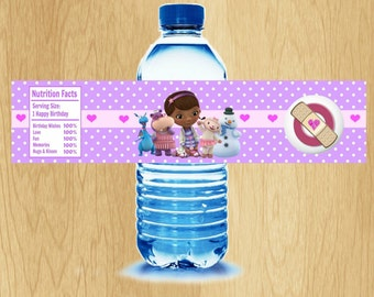 """Doc McStuffins Water Bottle Label - Printable - Digital - Birthday Party -  Instant Download - 2"""" x 8.25"""""""