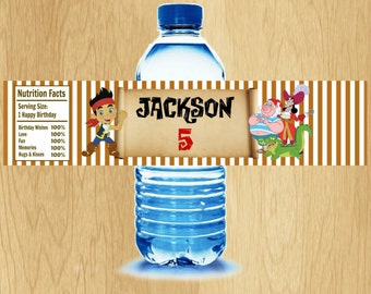 Jake and the Neverland Pirates Water Bottle Label -  Printable - Digital - Birthday Party -  Personalized Customized