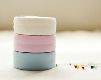 Cotton Chinlon Knit Fabric Tape in Blue Yellow Green White Aqua Pink 2cm 3/4inch wide - 8 yards