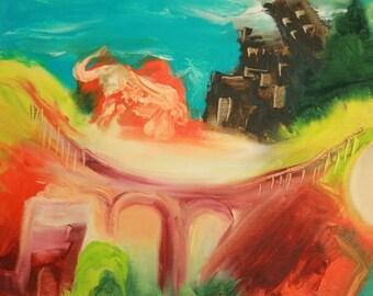 European art landscape expressionist composition signed