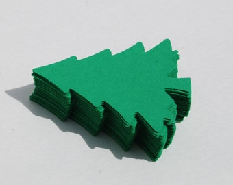 50 Large Green Christmas Tree Pine Tree Paper Tree Die Cut Christmas Tag Favor bag Scrapbooking Card embellishment
